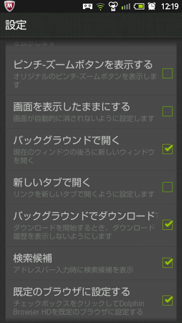 Dolphin Browser HD ブラウザの設定2