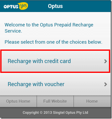 how to put credit on optus prepaid