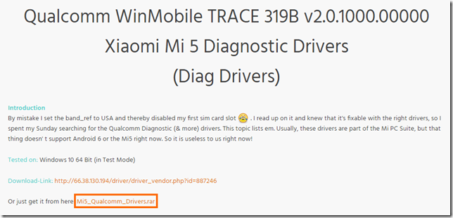 Xiaomi Mi5 Diagnostic Driverのダウンロード