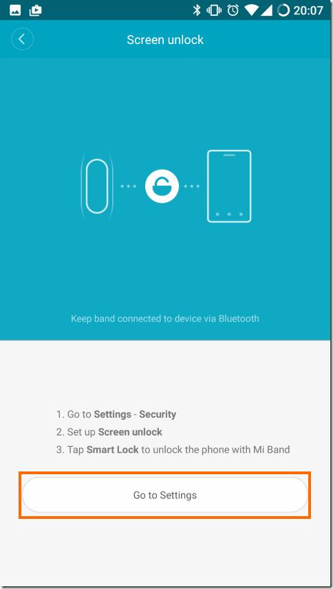 Mi FitアプリのScreen unlockの説明