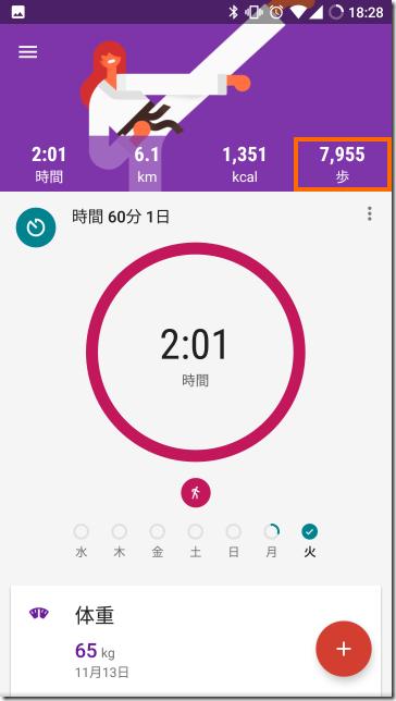 Google Fitに表示したMi Band 2のデータ