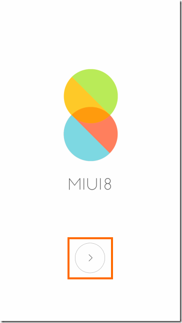 MIUI 8の初期設定画面