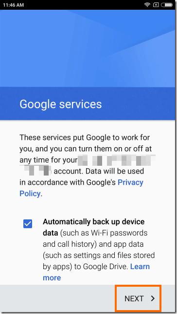 Googleサービスの使用