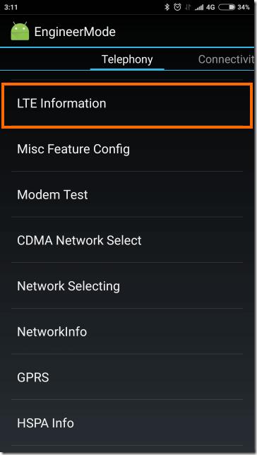 LTE Informationを選択