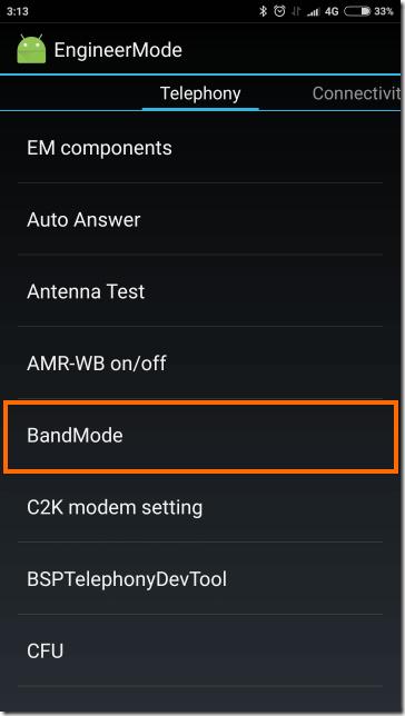 BandModeの選択