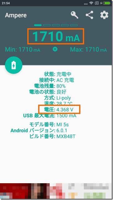 Ampereの表示 (Redmi Note 4付属の充電器)