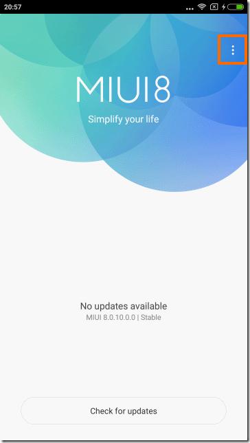 Updateアプリでメニューを選択