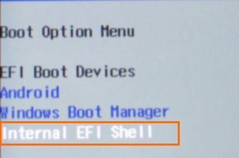 Internal EFI Shellを選択