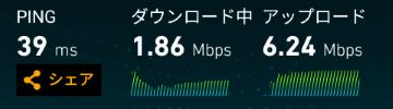 LTEでの通信速度(Wi-Fiルーター経由)