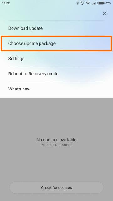Choose update packageを選択