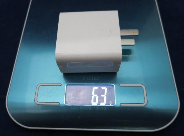 USBチャージャーの重さ