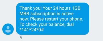 24時間のインターネットパッケージの購入結果のSMS