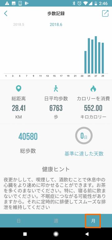 1ヶ月の歩数データ