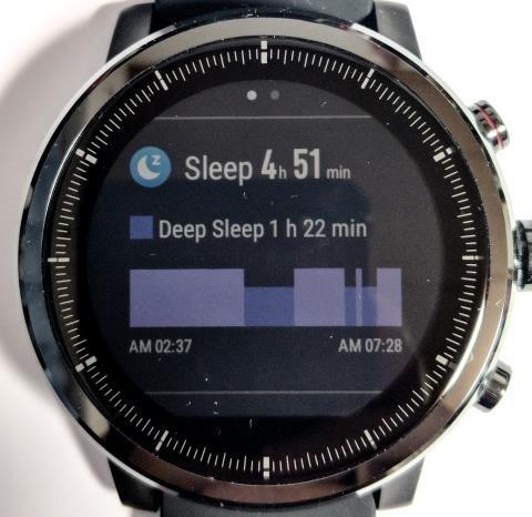 Amazfit Stratos画面: 1日の睡眠データ
