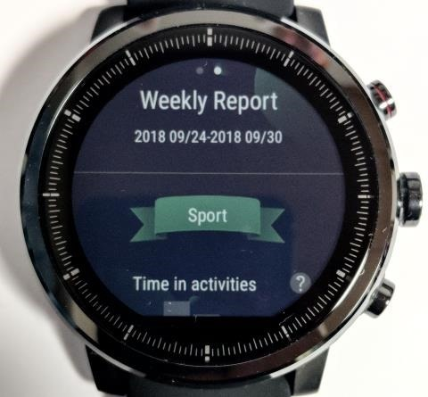 Amazfit Stratos画面: Weekly Report
