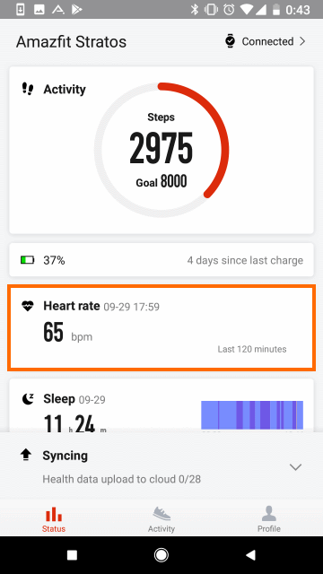 Amazfit Watchアプリ: 測定データ概要