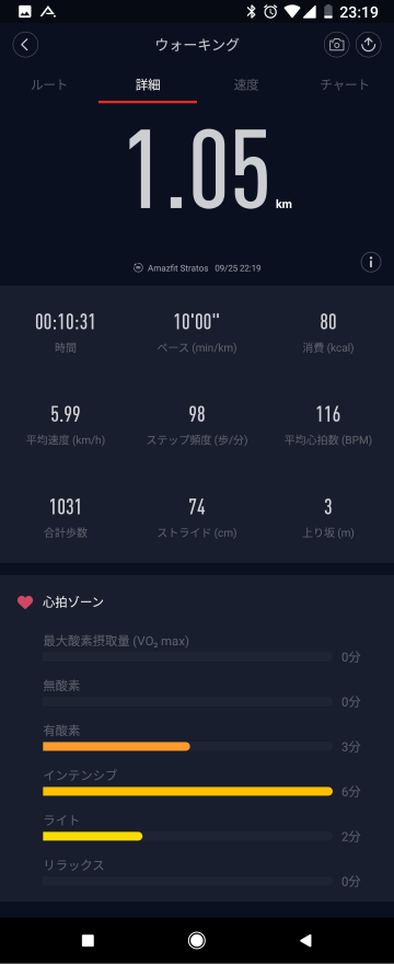 Mi Fitアプリ: ワークアウトの詳細表示
