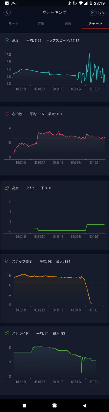 Mi Fitアプリ: ワークアウトのチャート