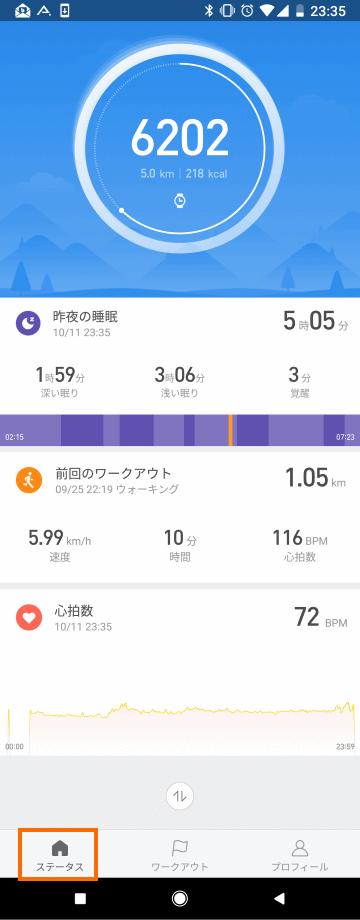 Mi Fitアプリ: 測定データ概要