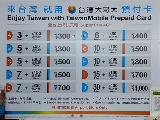 台湾モバイルの価格表 1