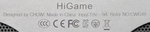 Hi Game 底面の表記