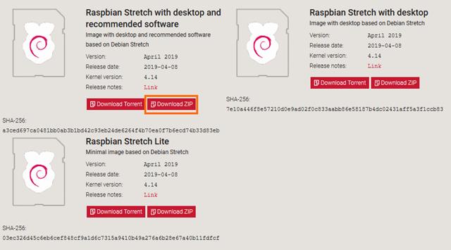 Raspbianのダウンロード