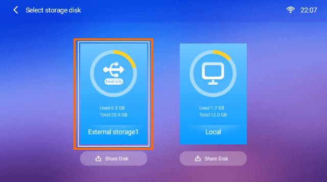 External storageを選択