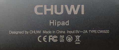 Chuwi Hipad上の情報