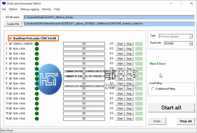 BootRom+PreLoader COM Set Allを選択