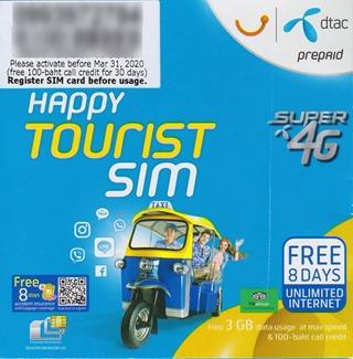 Happy Tourist SIMのパッケージ 表