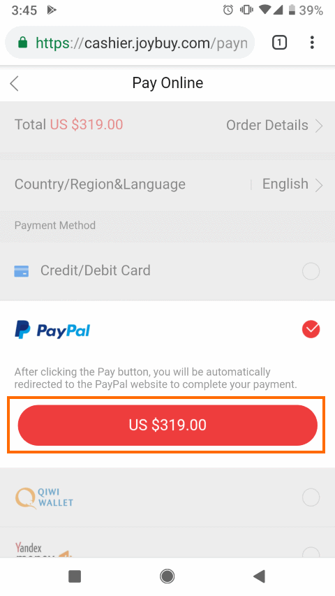 PayPal支払を選択