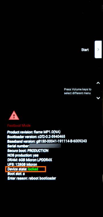 Fastbootモードの画面