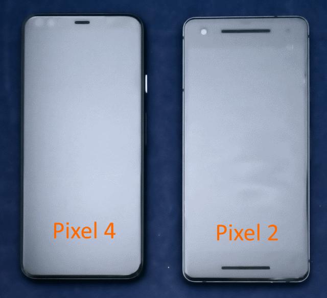 Pixel4とPixel 2のサイズの比較