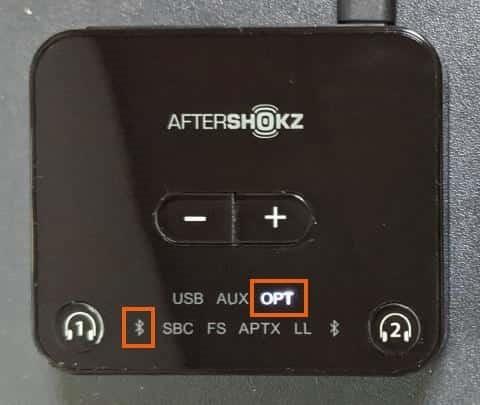 BluetoothアイコンとOPTが点滅